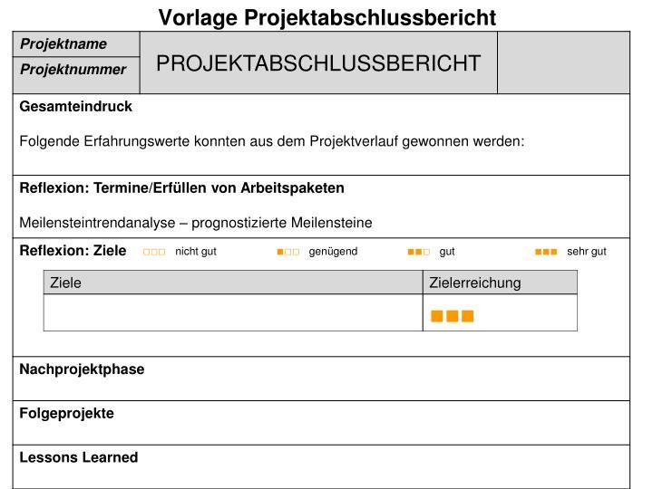 Charmant Projektabschluss Berichtsvorlage Fotos ...