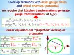 overlap fermions with axial gauge fields and chiral chemical potential