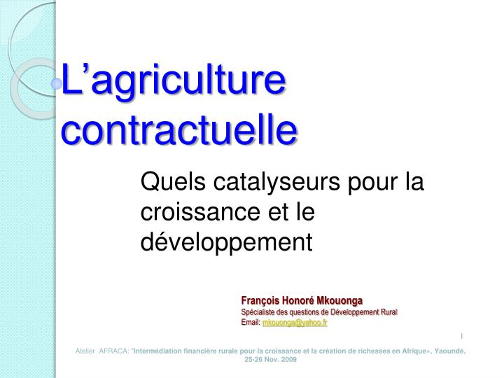 l agriculture contractuelle n.