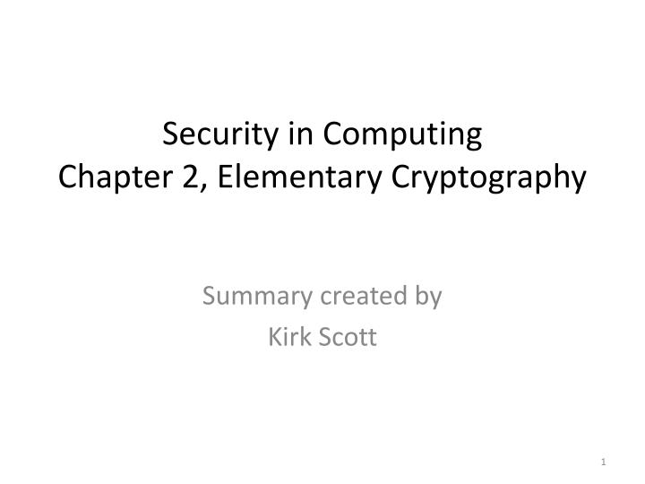 security in computing chapter 2 elementary cryptography n.