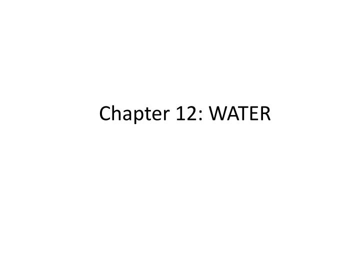 chapter 12 water n.