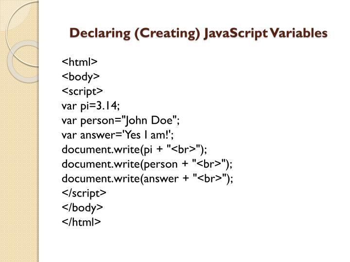 Declaring (Creating) JavaScript Variables