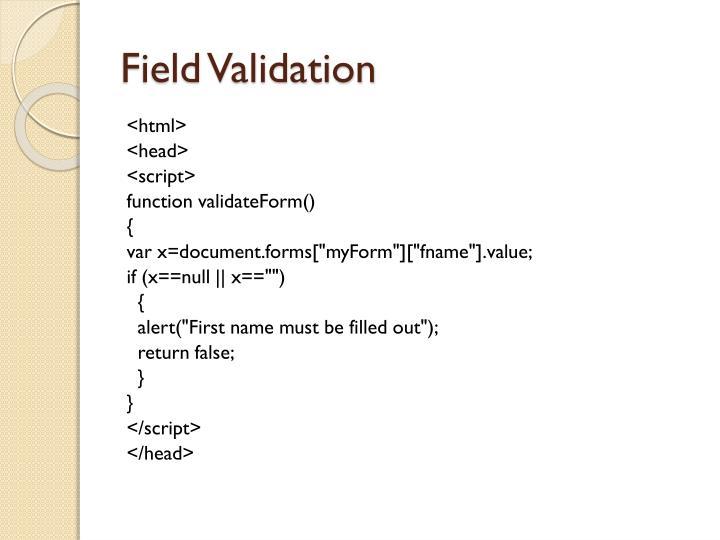 Field Validation
