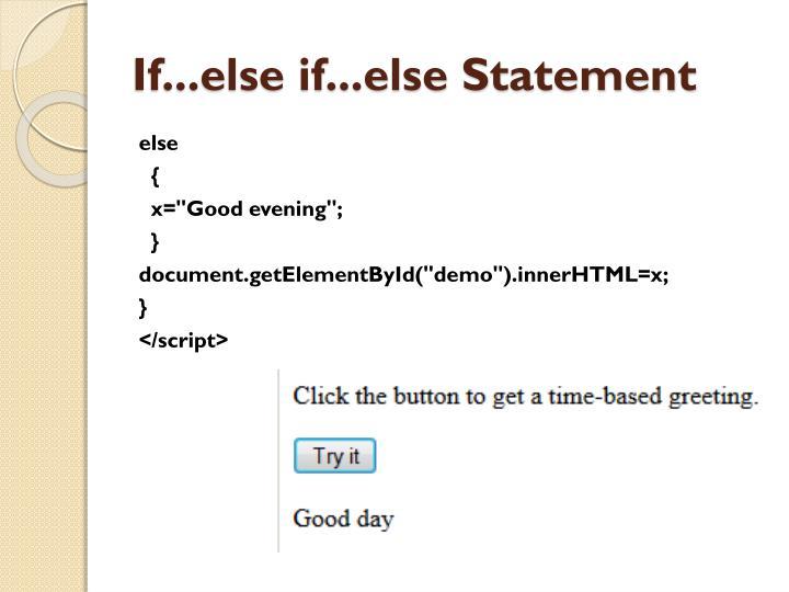 If...else if...else Statement