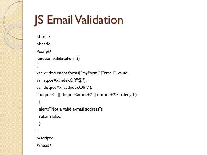 JS Email Validation