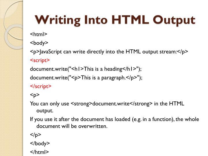 Writing into html output