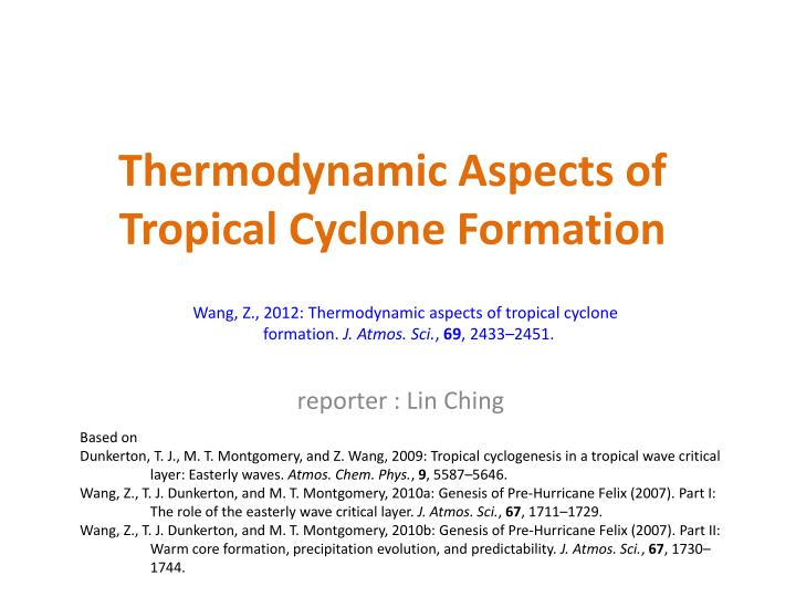 thermodynamic aspects of tropical cyclone formation n.