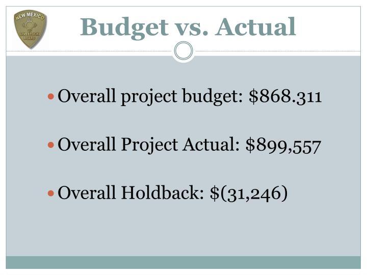 Budget vs. Actual