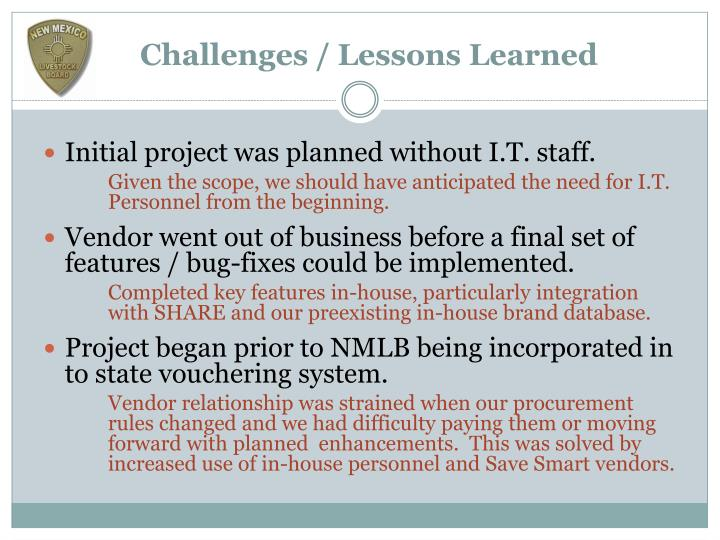Challenges / Lessons Learned