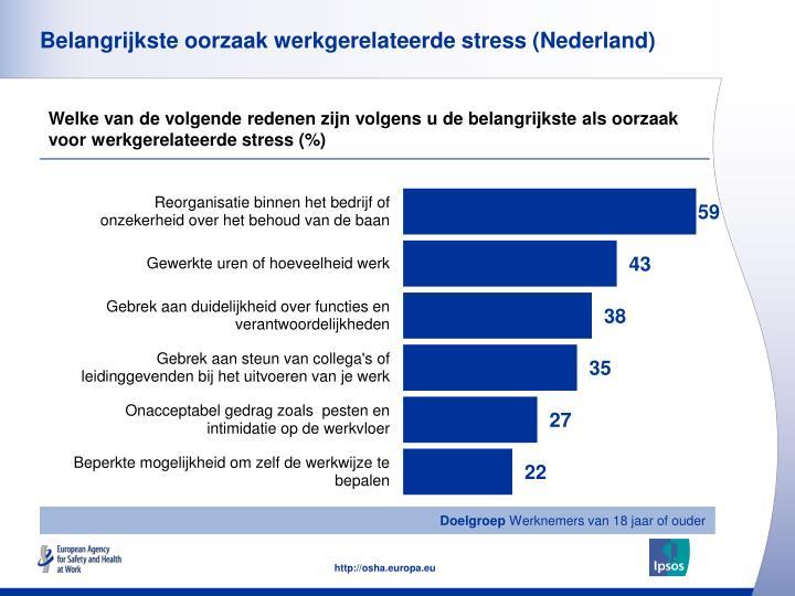 Belangrijkste oorzaak werkgerelateerde stress (Nederland)