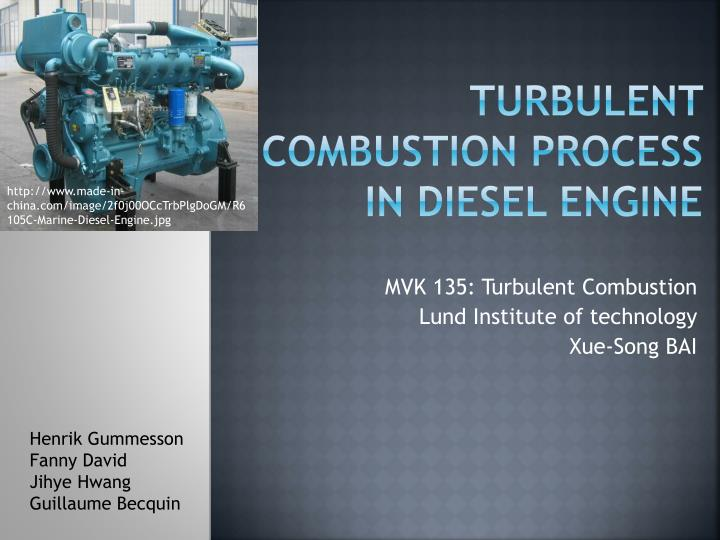 turbulent combustion process in diesel engine n.