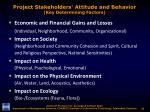 project stakeholders attitude and behavior key determining factors