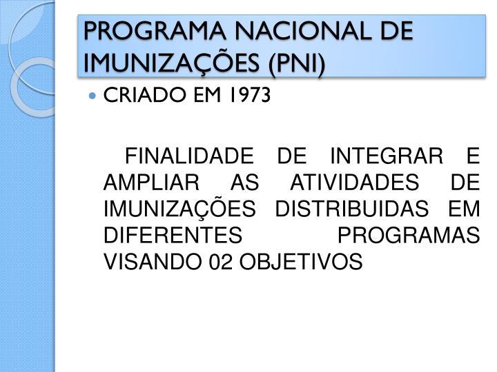 Programa nacional de imuniza es pni