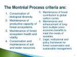 the montr al process criteria are