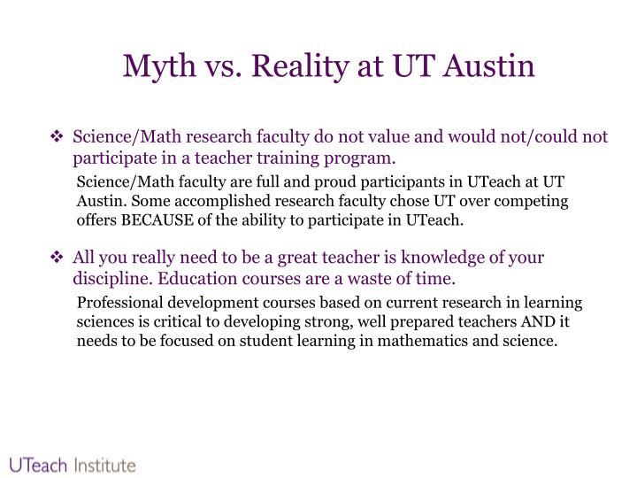 Myth vs. Reality at UT Austin