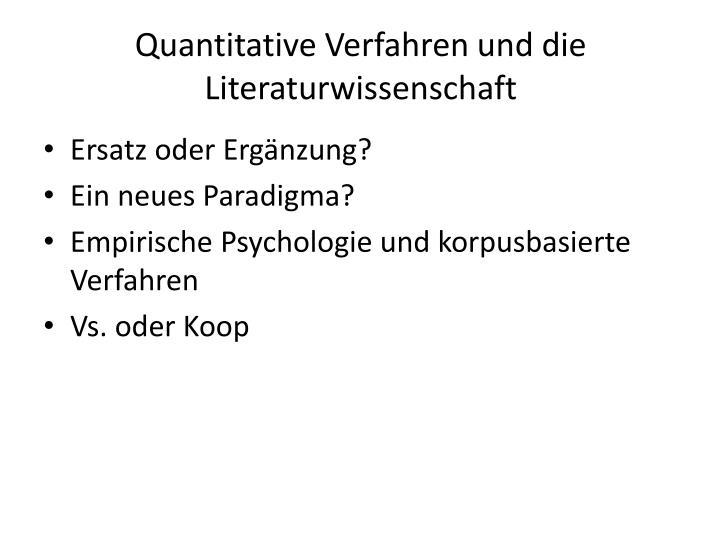 Quantitative Verfahren und die Literaturwissenschaft