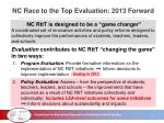 nc race to the top evaluation 2013 forward
