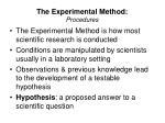 the experimental method procedures