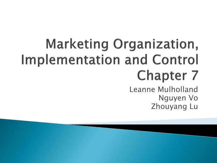marketing organization implementation and control chapter 7 n.