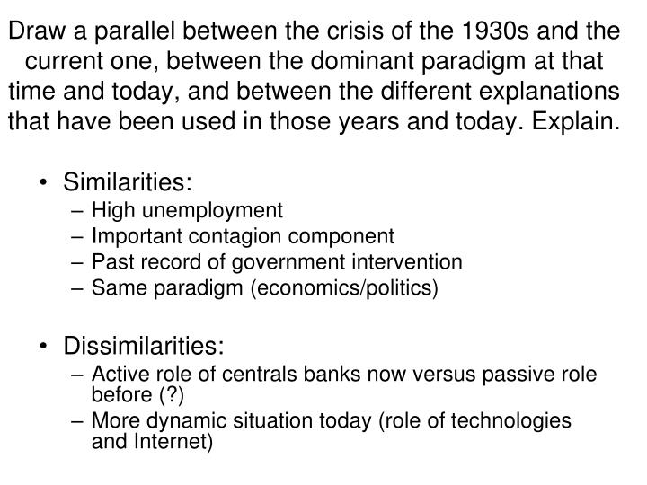 Draw a parallel between the crisis of the 1930s and the current one, between the dominant paradigm at that time and today, and between the different explanations that have been used in those years and today. Explain.