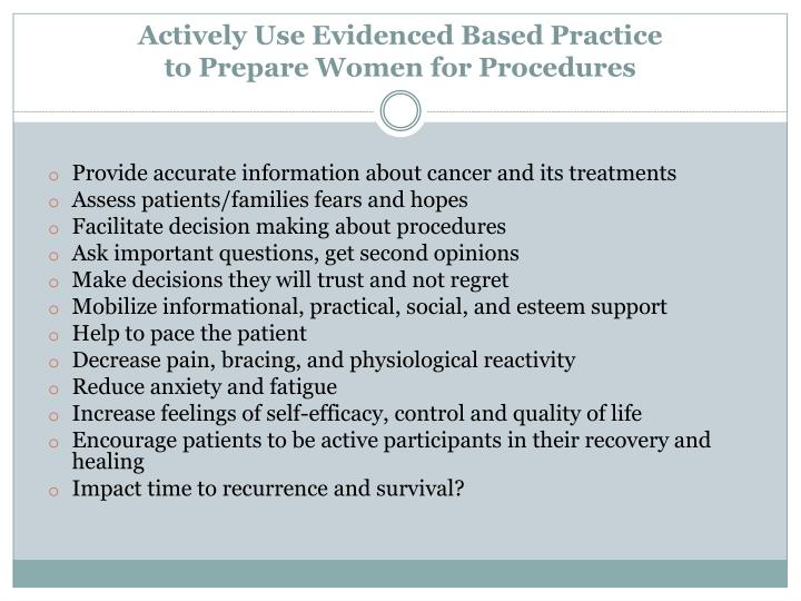 Actively Use Evidenced Based Practice
