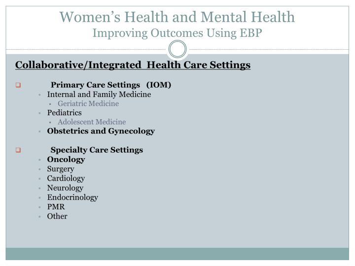 Women's Health and Mental Health