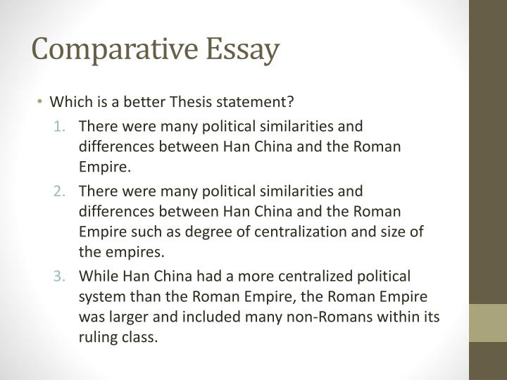han and roman empire comparative essay The roman empire and the han dynastythe roman empire  july 31, 2018, from .