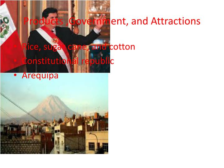 Products ,Government, and Attractions