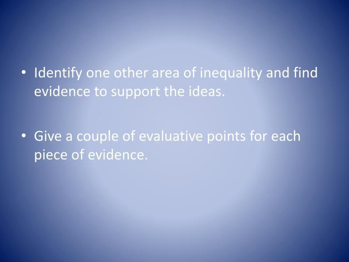 Identify one other area of inequality and find evidence to support the ideas.