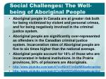 social challenges the well being of aboriginal people