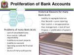 proliferation of bank accounts