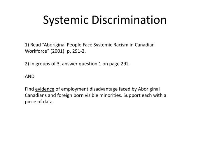 Systemic Discrimination