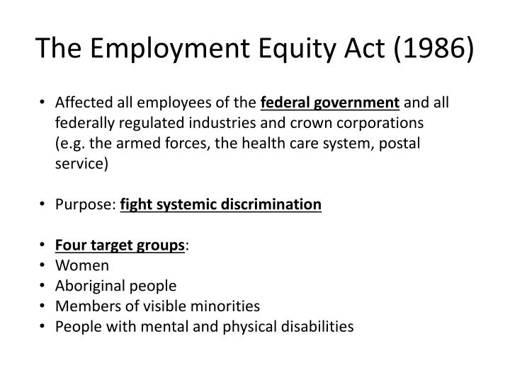 The Employment Equity Act (1986)