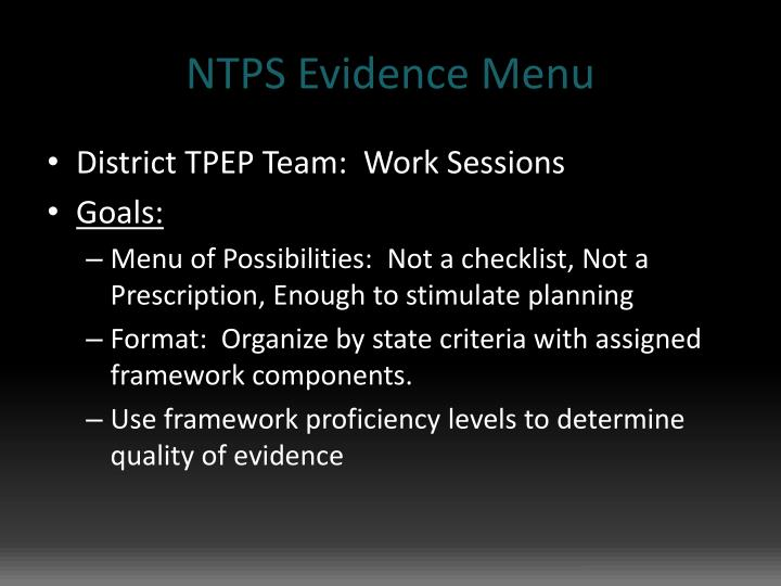 Ntps evidence menu