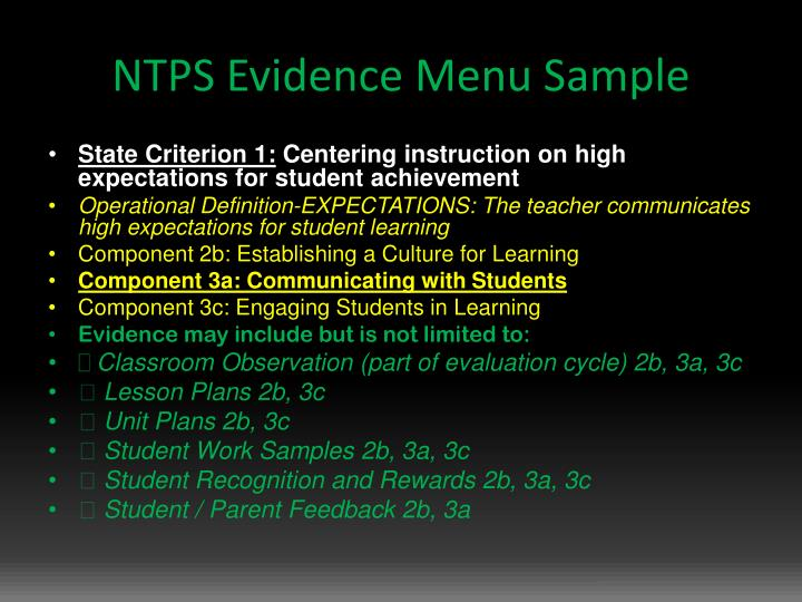 NTPS Evidence Menu Sample