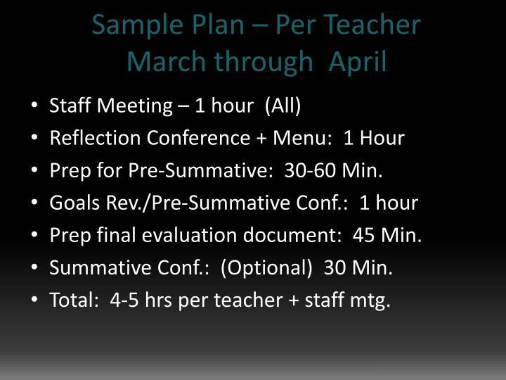 Sample Plan – Per Teacher