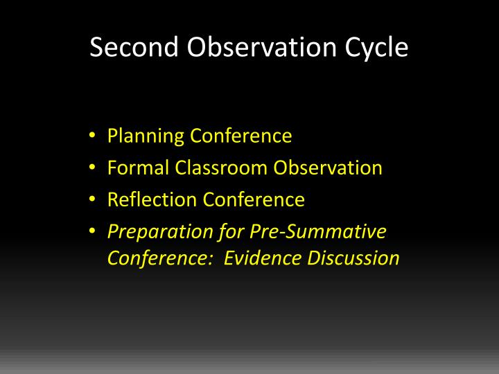 Second Observation Cycle