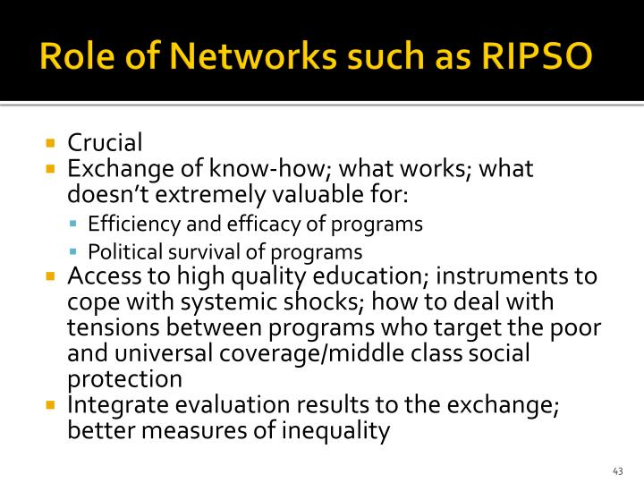 Role of Networks such as RIPSO