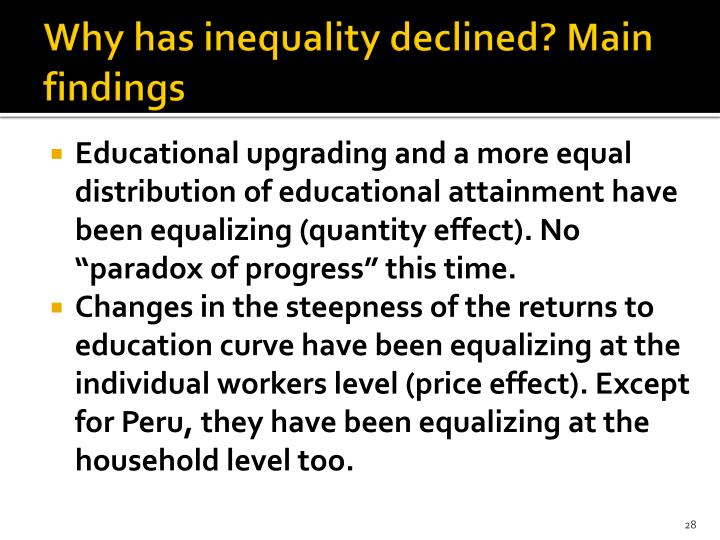 Why has inequality declined? Main findings