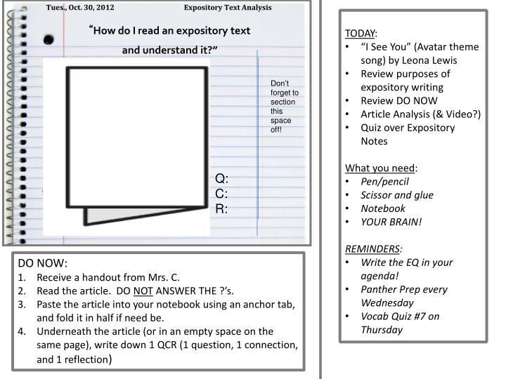 Tues., Oct. 30, 2012                      Expository Text Analysis