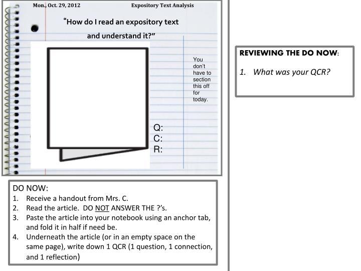 Mon., Oct. 29, 2012                      Expository Text Analysis