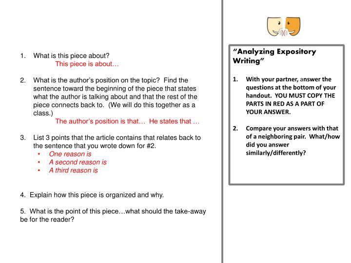 """Analyzing Expository Writing"""
