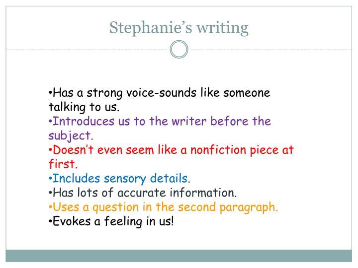 Stephanie's writing