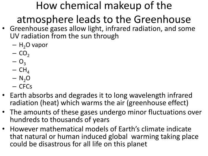 How chemical makeup of the atmosphere leads to the Greenhouse