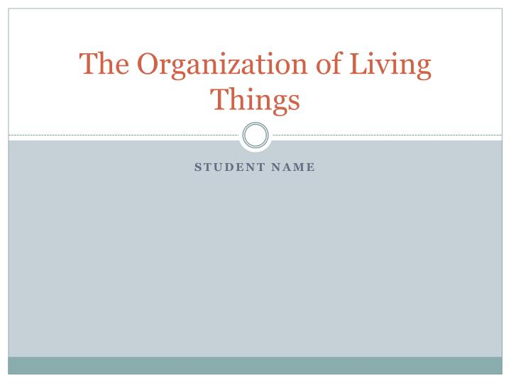 the organization of living things n.