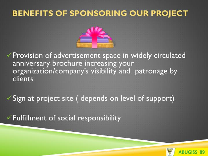 Benefits of Sponsoring Our Project