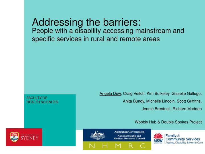 addressing the barriers n.