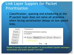 link layer support for packet prioritisation