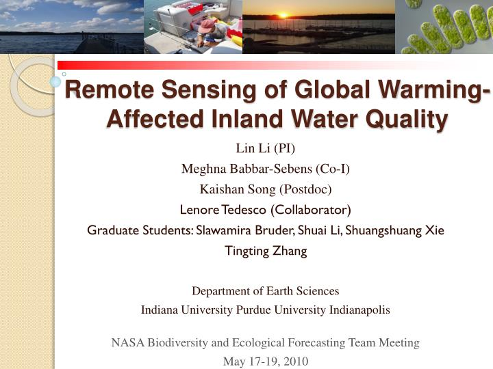 remote sensing of global warming affected inland water quality n.