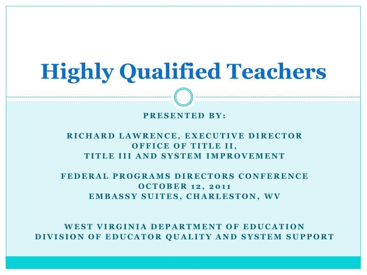 highly qualified teachers n.